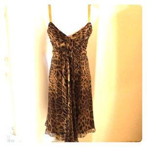 Dolce and Gabbana Leopard print silk dress 38IT